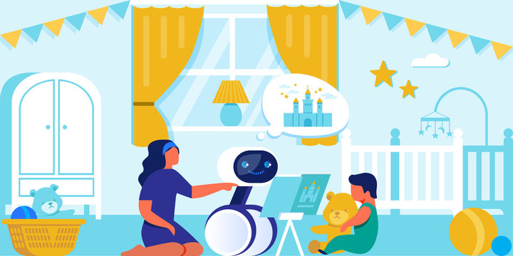 Happy Child and Mom Playing with Household Robot