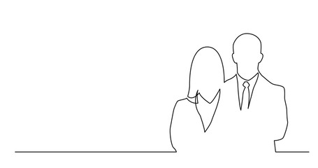 continuous line drawing of couple of business people