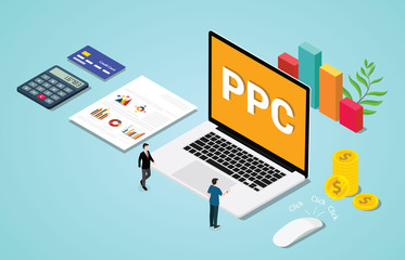 isometric 3d ppc paid per clik advertising or advertisement concept with laptop and clicked mouse sign - vector