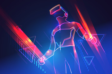 Virtual reality gaming. Man wearing vr headset and using light swords in abstract world. Vector illustration