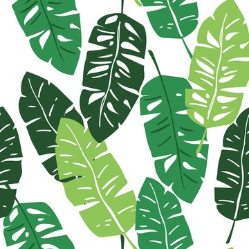 All over seamless repeat pattern with green tropical banana leaves