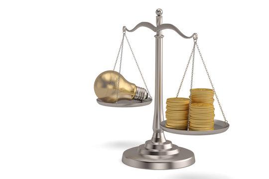 Gold coins and light bulb on libra over white background. 3D illustration.