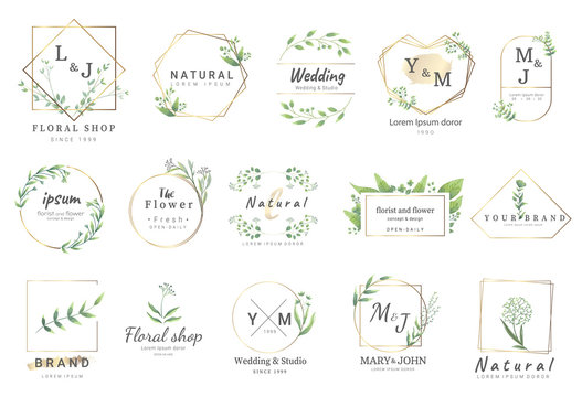Premium floral logo templates for wedding,logo,banner,badge,printing,product,package.vector illustration