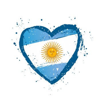 Argentine flag in the form of a big heart. Vector illustration