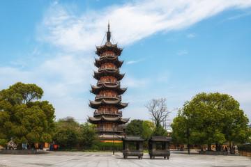 Longhua Pagoda at good sunny day with the blue sky. Shanghai. China.