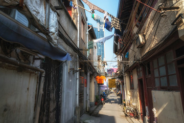 Old slums district in Shanghai close to Yuyuan Garden. China.