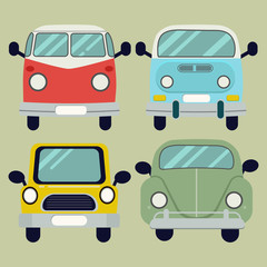 vector cartoon car pack set.Camper van. Summer vacation.retro car.Set of different models of cars. Vector flat style illustration . front view of car set.car flat vector style