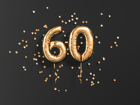 60 years old. Gold balloons number 60th anniversary, happy birthday congratulations. 3d rendering.