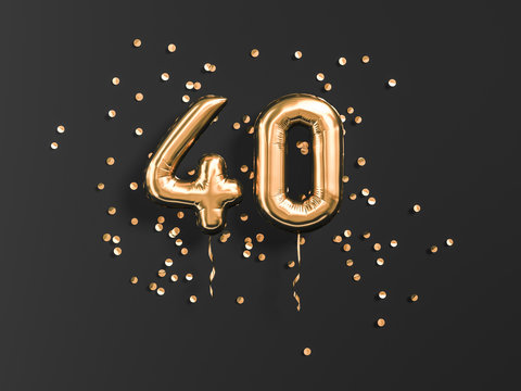40 years old. Gold balloons number 40th anniversary, happy birthday congratulations. 3d rendering.