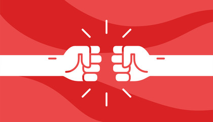 Fist bumping. Cute simple cartoon design. Flat style vector illustration.