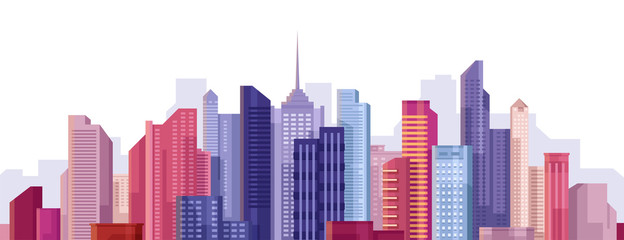 Cityscape. City landscape. Buildings panorama. Simple modern cartoon design. Realistic silhouette. Urban view with skyscrapers. Beautiful colorful template. Flat style vector illustration.