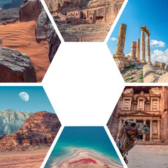 Colorful tourist photos of Jordan images are collage