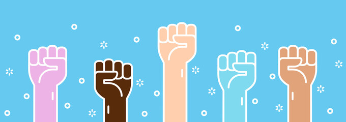 Raised fists, hands up. Symbol of unity, revolution, protest, cooperation. Different colors that represent different genders and races. Cute simple cartoon design. Flat style vector illustration.