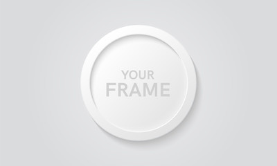 Round picture frame isolated on a wall. White color. Realistic modern template. Circle format. Mock up for pictures or photo. Beautiful minimal clean design. Eps 10 vector illustration.