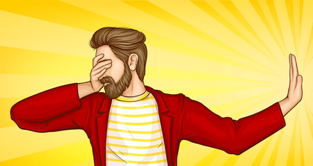 Fotobehang Pop Art Man stop gesture, bearded man covering eyes with hand and doing stop gesture with sad, fear expression. Embarrassed and negative emotion pose. Cartoon pop art vector Illustration in comic style.