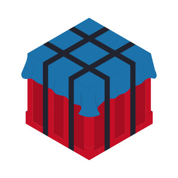 Air drop box from the game PlayerUnknown's Battlegrounds. PUBG. Isometric container. Battle royal concept. Clean and modern vector illustration for design, web.