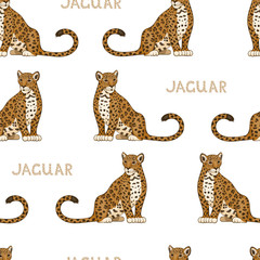 Vector seamless pattern with cartoon jaguars. Colored seamless background