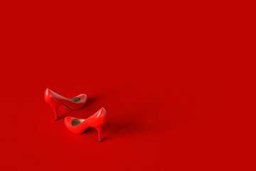 High-heeled shoes red color.