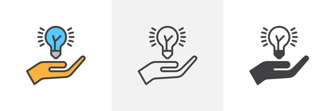 Idea lamp and hand icon. Line, glyph and filled outline colorful version, Hand holding idea bulb outline and filled vector sign. Symbol, logo illustration. Different style icons set. Vector graphics