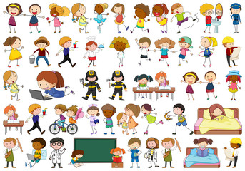 Active simple kids doing various activities
