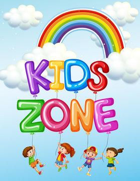 Kids zone text logo