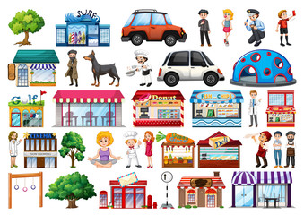 Set of outdoot objects and buildings, transport