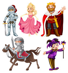 Set of medieval cartoon character