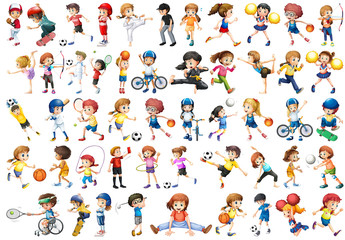 Set of sport kids character