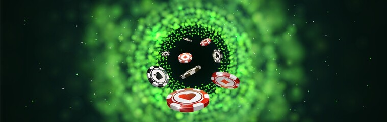 Vector red and black poker chips on green blurred lights background. Online casino social media web banner