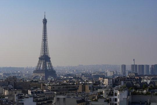 Pollution, Fog, Eiffel tower, Paris