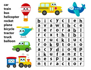 Word search game. Learn english words. For preschool kids activity worksheet. Cute kawaii cartoon vector transport characters.