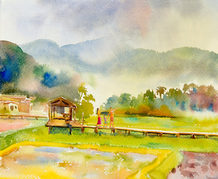 Painting watercolor landscape of happy family in morning.