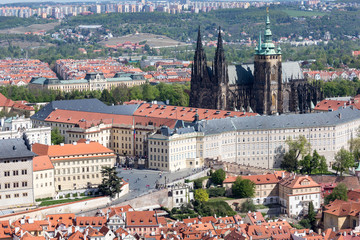 The panorama of the Charles bridge and Prazhsky Hrad in the center of Prague