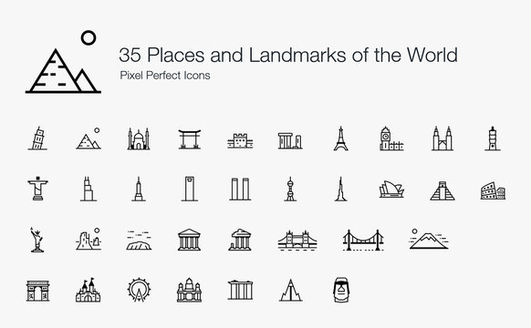 35 Places and Landmarks of the World Pixel Perfect Icons (Line Style). Vector icons of famous places and buildings around the world.
