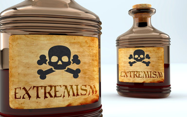 Dangers and harms of extremism pictured as a poison bottle with word extremism, symbolizes negative aspects and bad effects of unhealthy extremism, 3d illustration