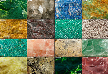 Set from raw minerals and ores with names. Selective focus.