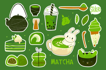 Various matcha tea products. Tea powder, mochi, macarons, bamboo spoon, tea leaves, bubble tea. Hand drawn vector set. Colored trendy illustration. Pre-made stickers. All elements are isolated