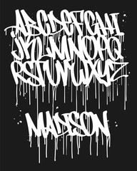 Marker Graffiti Font, handwritten Typography vector illustration.