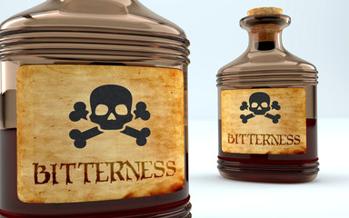 Dangers and harms of bitterness pictured as a poison bottle with word bitterness, symbolizes negative aspects and bad effects of unhealthy bitterness, 3d illustration