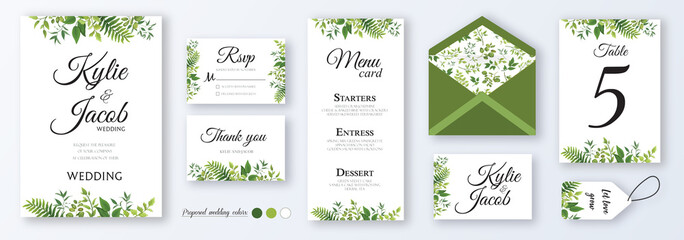 Wedding invite, menu, rsvp, thank you, label, save the date card, table number, envelope. Design with natural branches, green leaves, herbs. Vector cute rustic delicate chic layout Wall mural