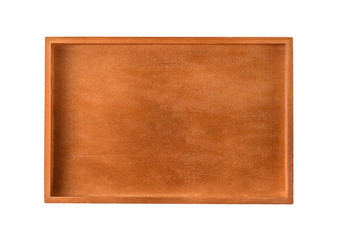 Wooden tray on a white background
