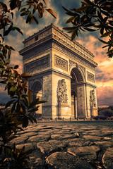 Leinwandbilder - Arc De Triomphe in Paris at sunset