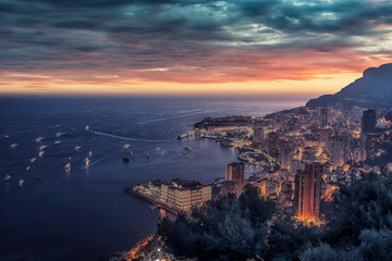 Monaco at sunset on the French Riviera Fototapete