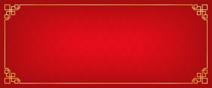 chinese new year banner, abstract oriental background, red square window inspiration, vector illustration