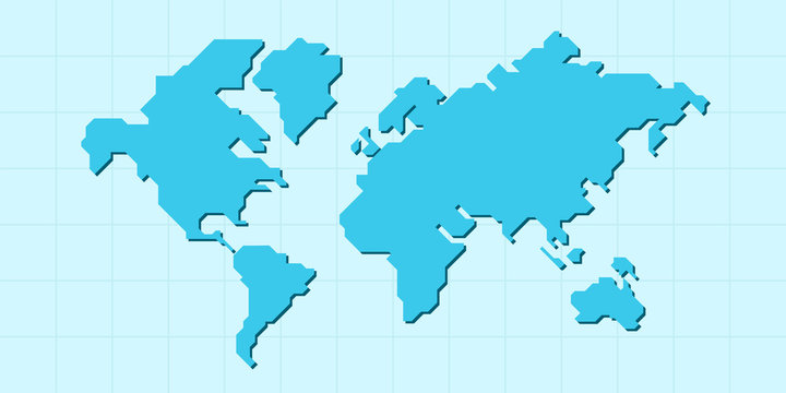 World map isolated. Low poly stylized map. Simple cartoon design. Simplified minimal style. Blue color. Flat style vector illustration.