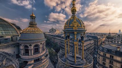 Paris roofs viewed from Haussmann boulevard  Wall mural