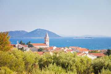 Pakostane, Zadar, Croatia - Steeple of Pakostane at the coastline of Zadar