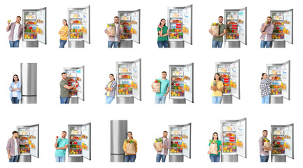 Young man near open refrigerator on white background - Buy