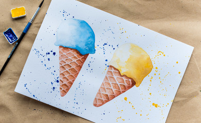 Set of hand drawn ice cream pictures
