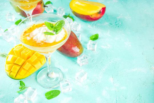 Tropical mango margarita cocktails